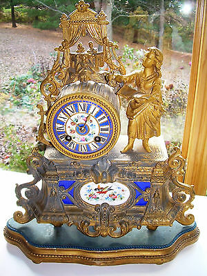 Antique Art NouVeau French Porcelain Spelter Striking Clock  Base Marti Thieble
