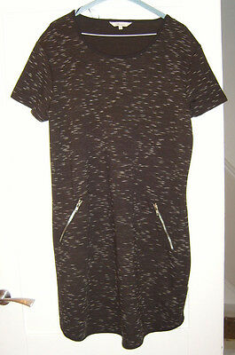 Brand New Black With White Fleck Patterned Dress Short Sleeve Zipped Front L@@k*
