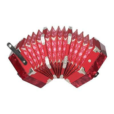 Concertina Accordion 20-Button 40-Reed Anglo Style with Carrying Bag Red U5W0