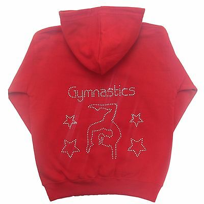 Kids Personalised Diamante Bling Gymnastics Hoodie Gymnast Hoody 25 Colours