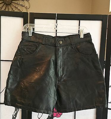 Vtg 80S Navarre Leather Co Wom 10 Hi-Waist Lined Pieced-Look Leather Shorts Pant