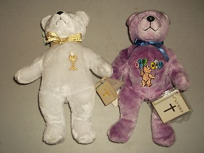 Two (2) Awesome Holy Bear Teddy Teddies - Communion & Get Well