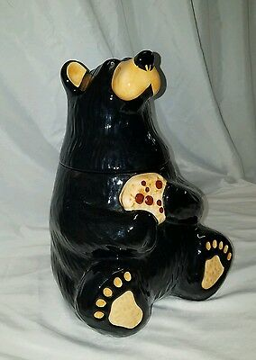 Jeff Flemiings Bearfoots Sitting Bear Ceramic Cookie Jar By Big Sky Carvers