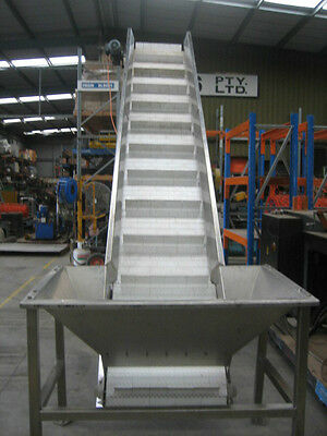 Stainless Steel Constructed Conveyor with plastic slatted belting