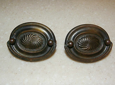 Set of 2 Vintage 1940's oval chest drawer dresser pull handle