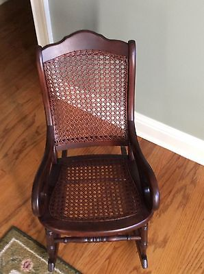 Antique Childs Rocking Chair Cane Back And Seat Mahogany