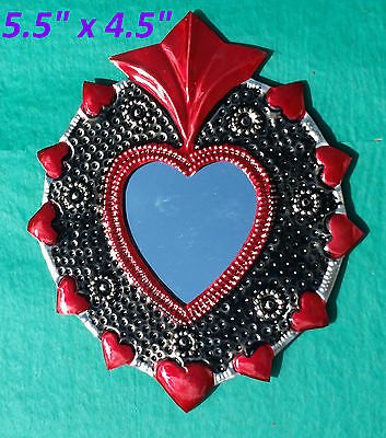 Wall Art Mexican Handmade Painted Tin Ornament Heart Mirror Milagro Red 2/$16