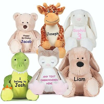 Personalised Plush Toy New Baby Christening Teddy Embroidered Bunny Dino Gift