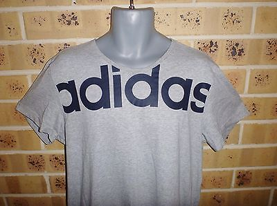 ADIDAS Large Mens  Sport Top Mens Tee Mens Cotton T Shirt Grey FREE POST !!!