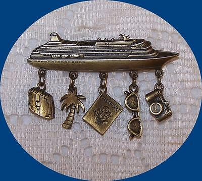 Vintage J.J. signed Cruise Ship Pin with Dangles.