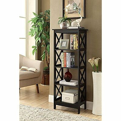 Bookcases 5-tier Black Wood Bookshelf Bookcase Display Media Cabinet Office Wall