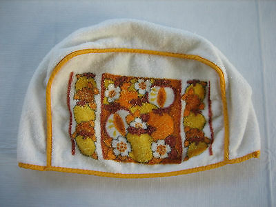 Vintage White Terry Cloth Toaster Cover with Yellow Trim and Fruits Theme