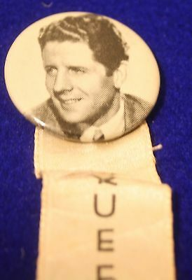 Rudy Vallee Picture Button with Cotton Bowl Ribbon, Queens Night