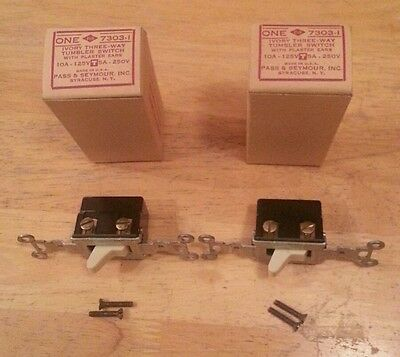 2 Vintage Antique Circle F Ivory Bakelite 3 Way Switches in Original Boxes