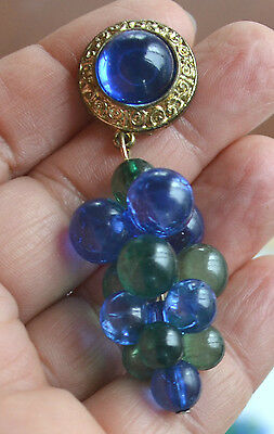 VINTAGE blue & green translucent plastic grapes shoulder earrings gold accent
