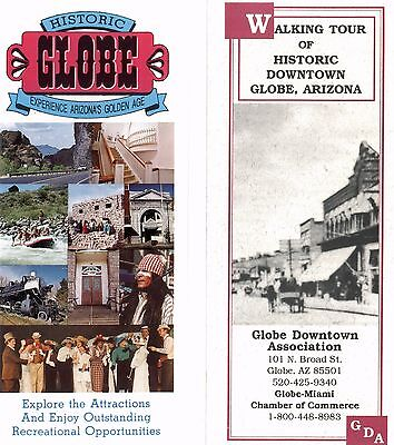 Historic Globe Arizona and Walking Tour (Maps)- 2 Tourist Brochures From 1990s