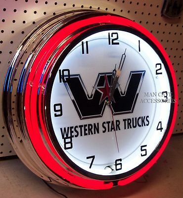 "18"" WESTERN STAR Truck Sign Double Neon Clock"