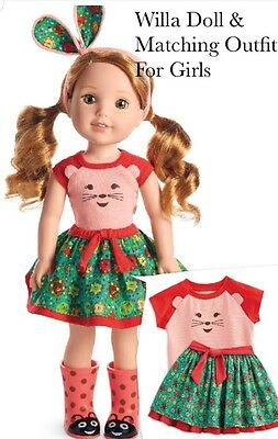 American Girl Willie Wishers Willa Doll & Matching Outfit  For Girls Sz 4