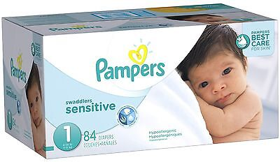 Pampers Swaddlers Sensitive Diapers Super Pack Size-1 84 Count Size 1, 84 Count