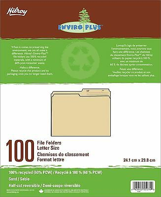 Hilroy Enviro-plus Recycled File Folders Letter Size 100/box Sand (55074)