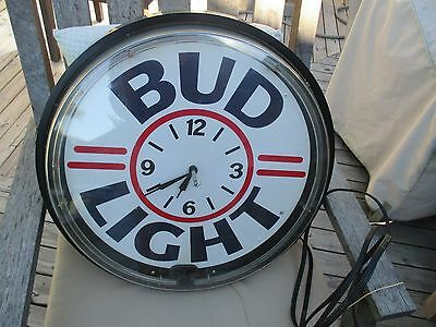 """Large Bud Light Clock/Sign-Light, needs repair!! """"OLD"""" Approx. 19"""" in size."""
