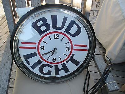 "Large Bud Light Clock/Sign-Light, needs repair!! ""OLD"" Approx. 19"" in size."