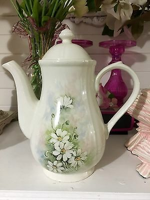 VINTAGE CHURCHILL COFFEE POT- WHITE-beautifully Hand painted-ENGLAND