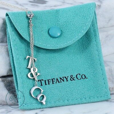 """Sterling Silver - TIFFANY & CO Logo Lariat - Necklace (16"""")"""