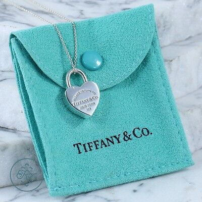 """Sterling Silver - TIFFANY & CO Return To Heart Lock - Necklace (15.75"""")"""