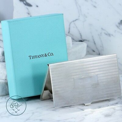 Sterling Silver - TIFFANY & CO Striped Engravable - Business Card Holder