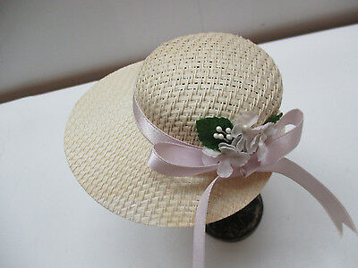 Vintage Doll Hat Straw Decorated with Flowers & Ribbons