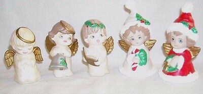 5 vintage small christmas angel figurines bell song book candy cane wreath - Christmas Angel Figurines