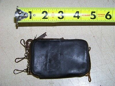 Antique Black Leather Key Wallet with 2 old keys door lock house dresser desk