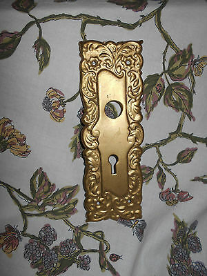 Antique Brass Door Back Plate Fanciful Victorian ~Raised Fancy molding~Lovely~