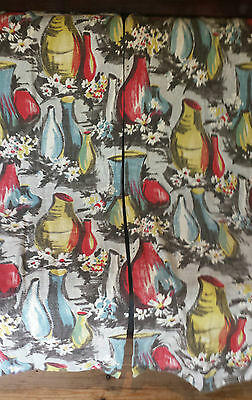 2 matching pairs of vintage 1950's curtains designed by David Whitehead