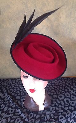 1940s Style sculptured  claret Red felt Feathered Hat