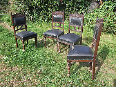 set of 4 wooden chairs, leather seats and back pads, for restoration