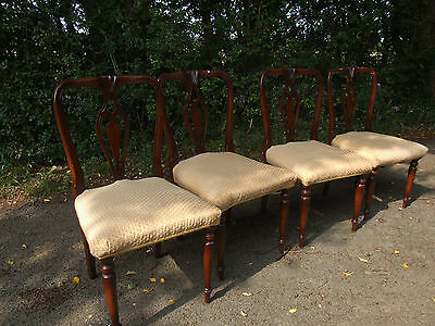 set of 4 wooden chairs, upholstered seats
