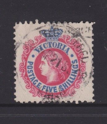"""Victoria 1908 5/- Red & Blue Qv """"postage"""" Fine Used  (Cl34)"""