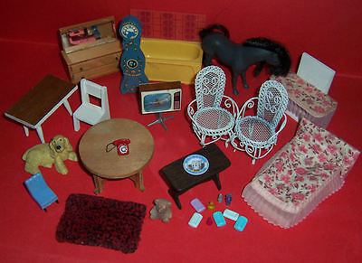 Vintage Dolls House Lot Of Furniture & Accessories Barton Lundby +++++