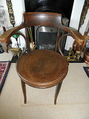 Rare Vintage  Bentwood  Captains Chair-  Inscribe With Glaris Under Rim