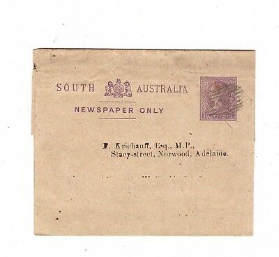 South Australia 1/2d NEWSPAPER WRAPPER Commercially Used