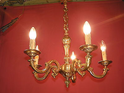 *** Very nice vintage french 5 light bronze chandelier  ****