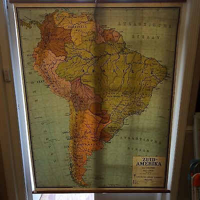 Huge, 1960's vintage pull down school map of South America - COOL WALL HANGING!
