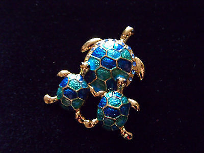 Adorable little enamelled turtle mum and babies brooch