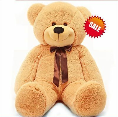 1.2m 120cm Tall Giant Huge Lovely Teddy Bear Stuffed Plush Doll Gift Light Brown