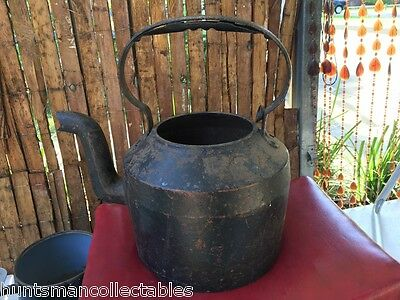Large English Clark & Co No 7 Cast Iron Country Kitchen Camp Stove Kettle