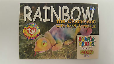 TY Beanie Baby collector card Rainbow the Chameleon (hood & tongue) Series 2