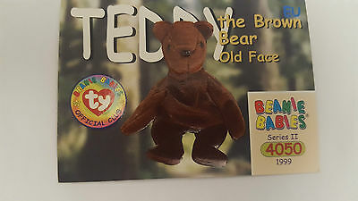 TY Beanie Baby collector card Teddy the brown bear (old face) Series 2 EU
