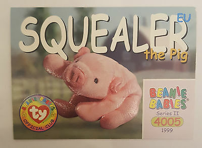 TY Beanie Baby collector card Squealer the Pig Series 2